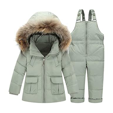 3522108e7 Amazon.com: FREE FISHER 2Pcs Winter Snowsuit Faux Fur Hoodded Down Coat+Snowpants  Bib: Clothing