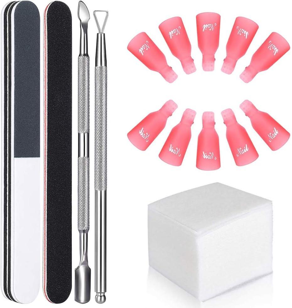 GeekerChip Kit de Herramientas para Uñas Removedor Clip,10 clip para los dedos+100 Removedor Almohadillas+2 Lima de Uñas+1 Raspador+1 Empujador de Cutículas