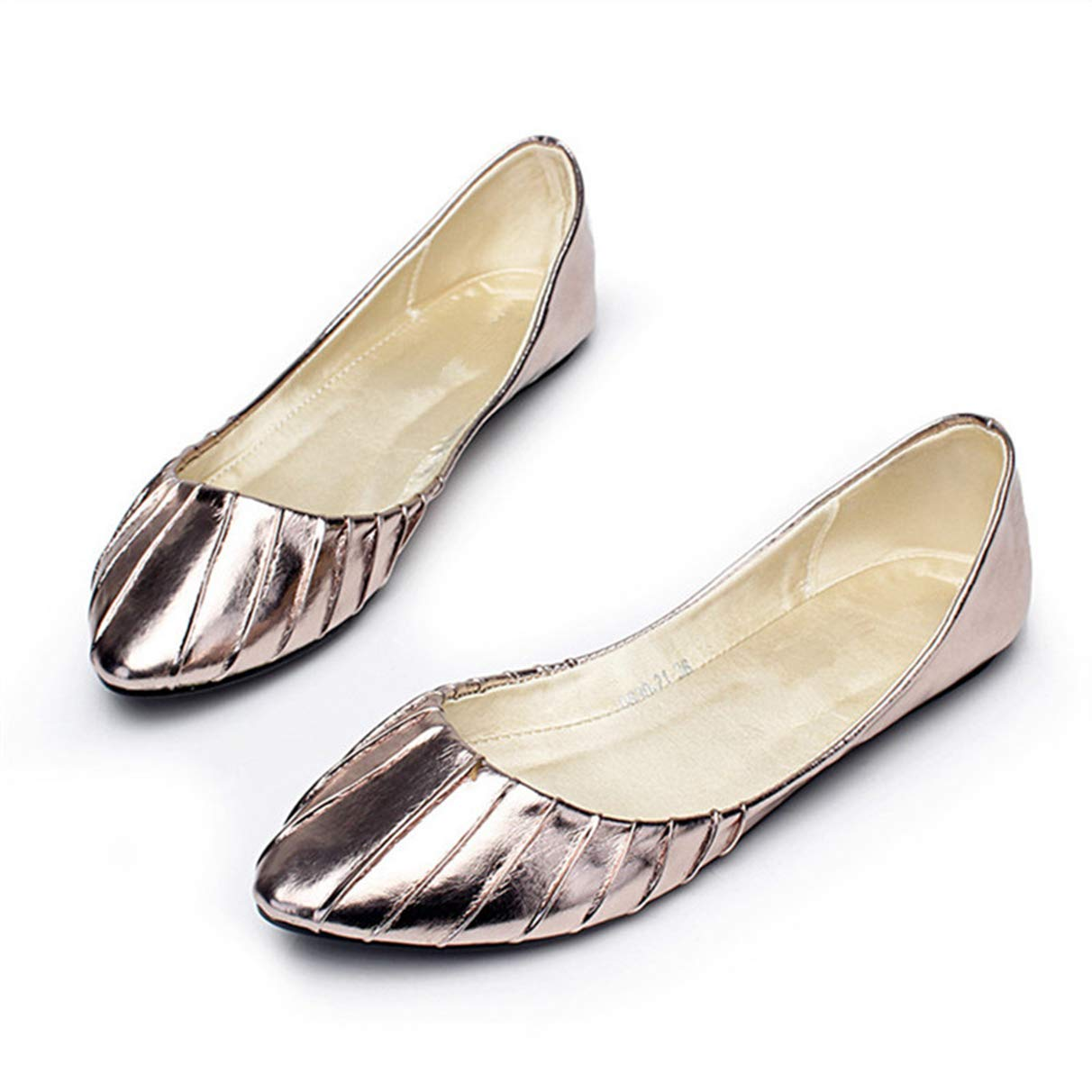Comfort Solid Shallow Leather Slip On Pleated Ballet Shoes Owen Moll Women Flats