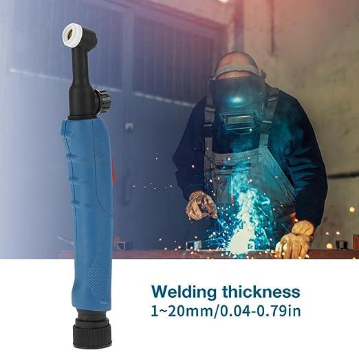 Cuerpo flexible de la antorcha de soldadura Tig con enfriamiento por aire de válvula, accesorio de soldadura Tig para soplete de soldadura WP-9V SR-9V: ...