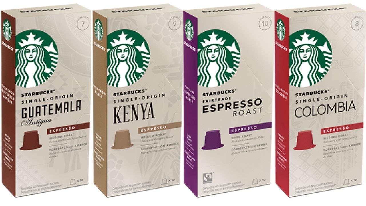 Starbucks Capsules for Nespresso OriginalLine: Colombia, Espresso, Guatemala, Kenya (40 count