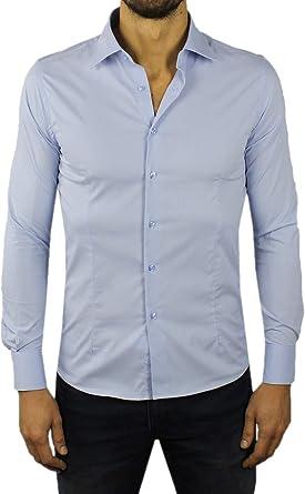 Camisa de Hombre Slim Fit Blanca Negra Azul Azul Azul de algodón clásica Elegante elástica adherente para Vestido Cuello francés Azul Claro L: Amazon.es: Ropa y accesorios