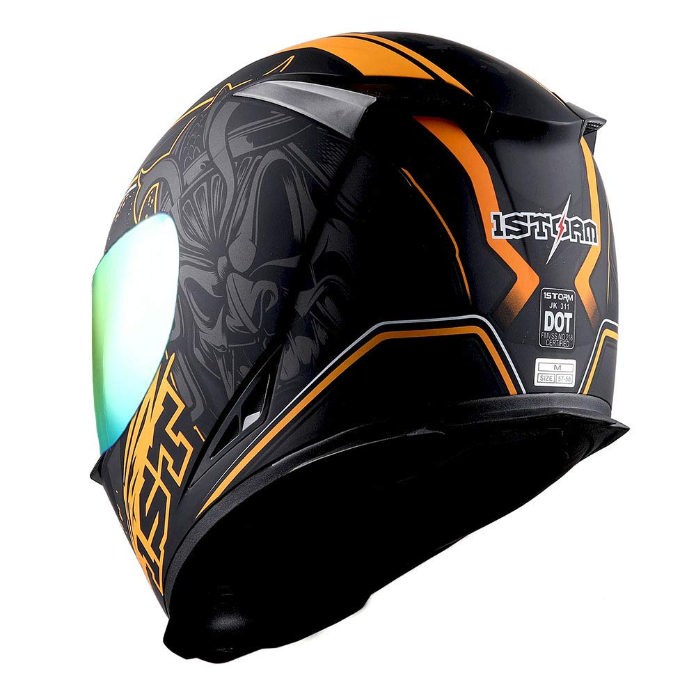 1STorm Motorcycle Full Face Helmet Star King Matt Blue One Extra Clear Shield 53-54 CM,20.9//21.3 Inch Size Small