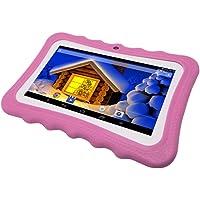 ZMH 7 Pulgadas Quad Core 512 MB + 4GB Android 4,4 Kids Tablet PC con Bluetooth 1024X600 Doble Cámara con Estuche De Silicona para Edad 5 6 7 8 9 10 11 12 Niños Niño Niña Rosa