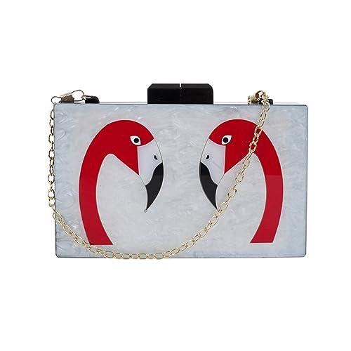 557d2aa116 Zarapack Women s Designer Elegant Flamingo Hard Case Chain Shoulder Bag  Perspex Handbag Box Clutch (Style