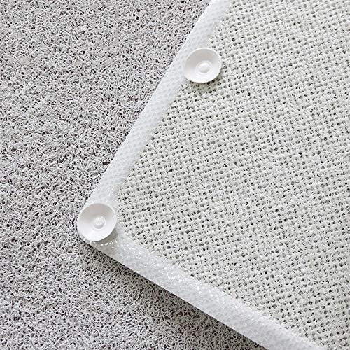 GHHQQZ バスルームラグ 厚さ0.8 cm ノンスリップ 疎水性 強い吸盤 PVC シャワー キッチン フットパッド バスルームのカーペット、 白い、 43x73cm (Color : White, Size : 43x73cm)