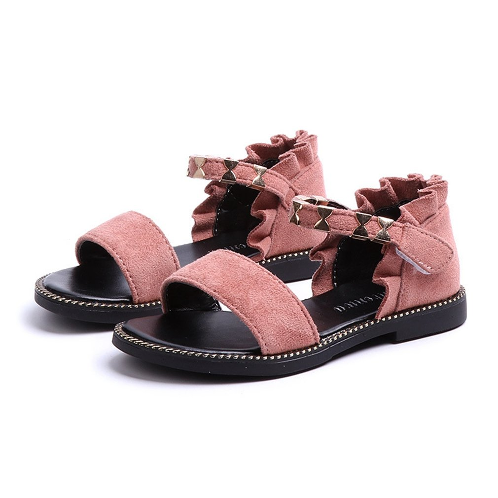 CYBLING Open Toe Sandals for Girls Summer Spring Outdoor Casual Suede Shoes (Toddler/Little Kid)