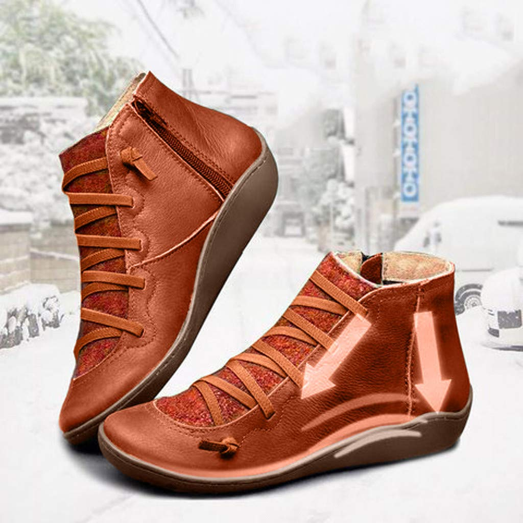 2019 New Arch Support Boots Women/'s Autumn Winter Casual Ankle Boots Fashion Lace-up Side Zip Vintage Booties Waterproof Comfortable Flat Heel Arch Support Round Toe Shoes