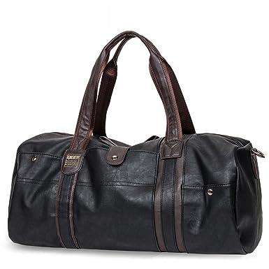 deb3a4e7524 Faux Leather Gym Bag Travel Bags Tote Bag Duffel Bag (black)