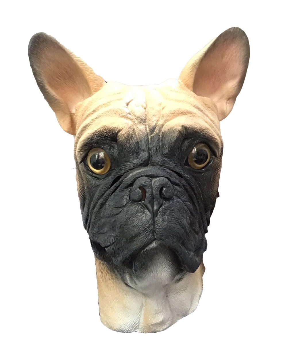 French Bulldog Dog Mask , Full Head , Deluxe Latex Animal Mask , Costume Masks (Blond)