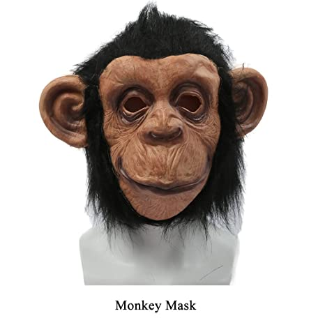 Animal Monkey Mask Full Head Latex Party Cosplay Costume Halloween Accessory