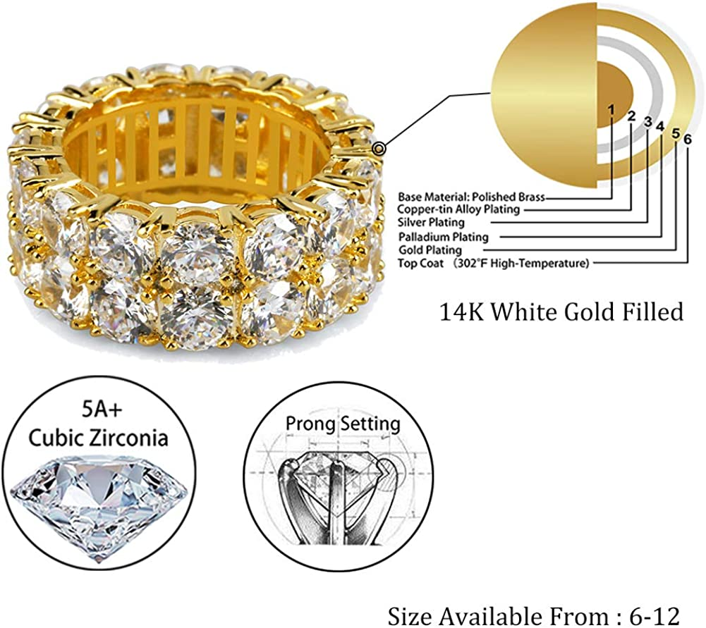 TOPGRILLZ 9mm 2Rows Round Cut 14K Silver Plated Iced Out Lab Diamond Wedding Band Eternity Ring for Men Women