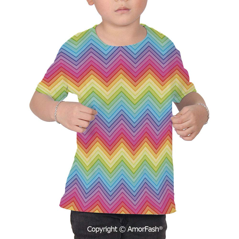 Rainbow Crew Neck for Ultimate Comfort T-Shirt,Colorful Zig Zag Che