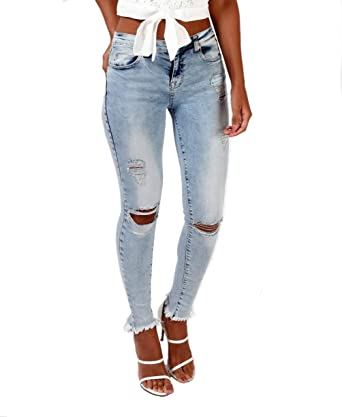 6b51b0fb5ba2 Damen Skinny Slim Fit Denim Hosen Straight Leg Low Rise Jeans,Damen Jeans  Hose Röhrenjeans