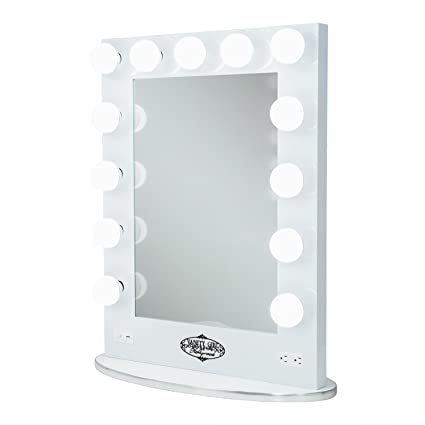 Merveilleux White Vanity Girl Broadway Lighted Vanity Mirror With 2 Outlets And Dimmer  Switch   13 Makeup