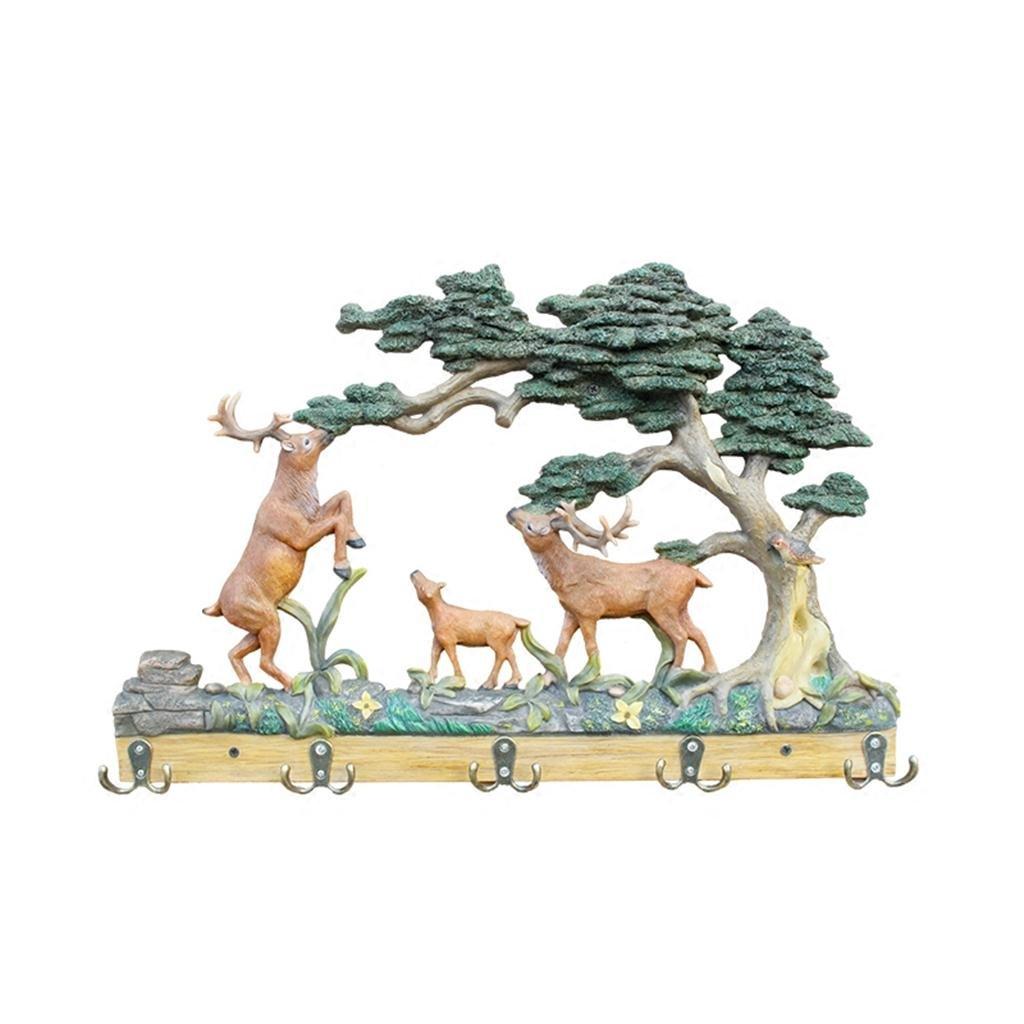 Uncle SamLI@ Deer Design 5 Hooks Up, Resin Material, Personalized Creative Entrance Hangers/Keychain 57 39 cm