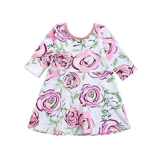 cf3e6923145e Amazon.com  KONFA Teen Baby Girls Flowers Print Dress