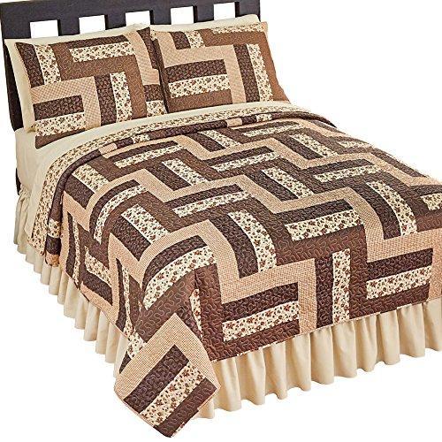 Camden Comforter Set - Collections Etc Reversible Camden Brown Patchwork Quilt, Mocha, Twin