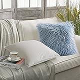 PHANTOSCOPE New Luxury Series Set of 2 White Soft Velvet Blue Merino Style Fur Throw Pillow Case Cushion Cover 18'' x 18'' 45cm x 45cm
