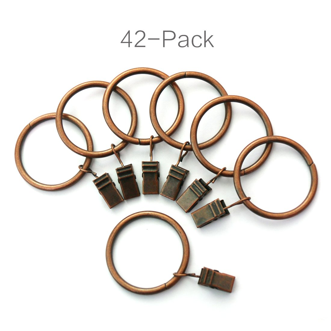 Alytimes 42-pack Copper Metal Curtain Rings with Clips (1.5'', Copper)