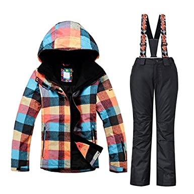 Women s High Breathable Colorful Waterproof Windproof Polyester Fibre  Snowboard Suit Ski Jacket Pants Black 569677c4f