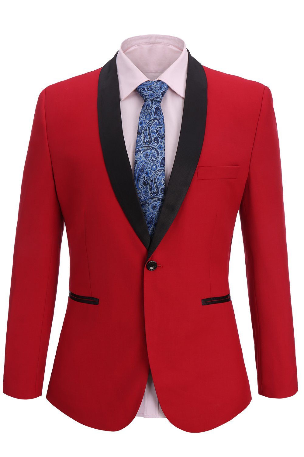 FISOUL Men's Suit Skinny Fit Suit Jacket Stylish Casual Single Breasted One-Button Blazer Tuxedo