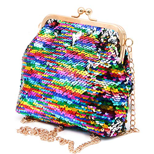 WSSROGY Sparkling Sequins Clutch Purse Handbags Shoulder Bag Glitter Evening Clutch with Detachable Chain Strap for Women (Sequin Mesh Clutch)