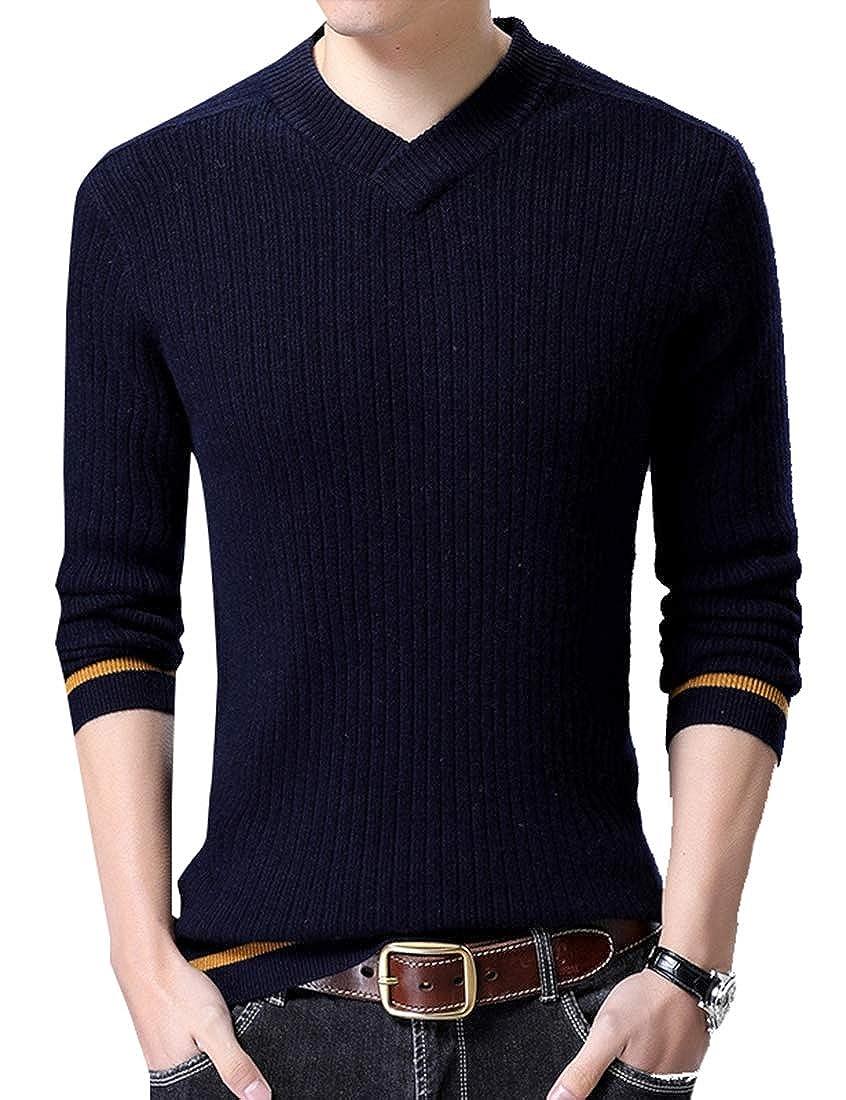GenericMen Knitting Sweater Stylish Long Sleeve V-Neck Pullover
