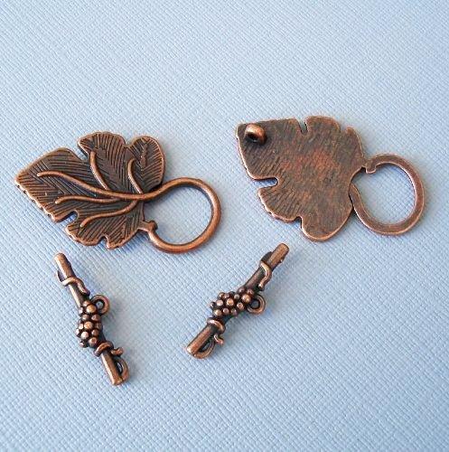 Beadstreasure Design Toggle Clasp Leaf Shape Antiqued Copper (5 Sets)