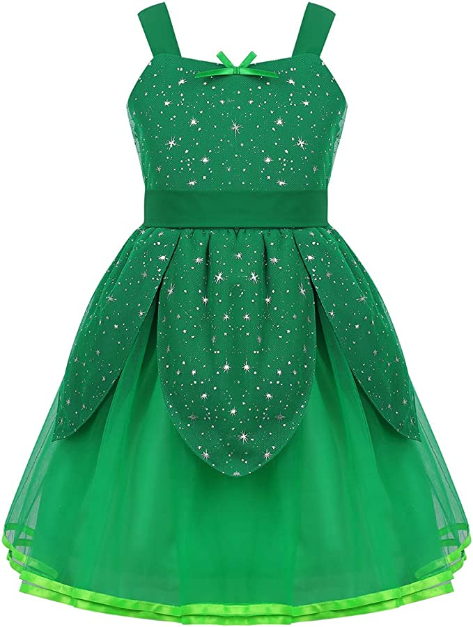 CHICTRY Disfraz Hada Verde Niñas Vestido Tutú Princesa Traje Elfo ...