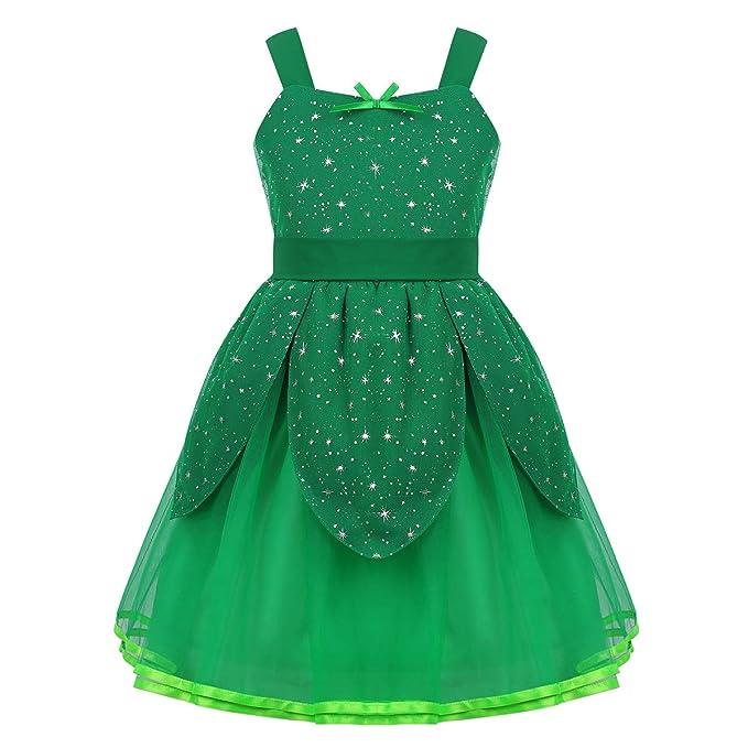 CHICTRY Disfraz Hada Verde Niñas Vestido Tutú Princesa Traje ...