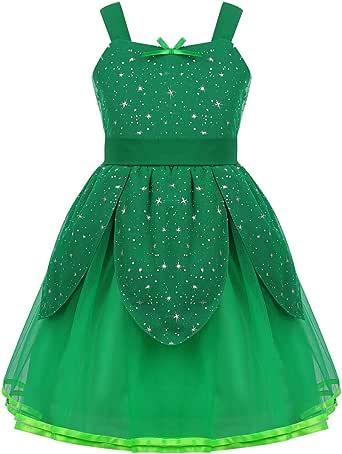 Agoky Disfraz de Princesa Campanilla para Niña Cosplay Traje ...