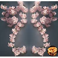 2 Pack Cherry Blossom Flower Vine with 100 LED String Light, Artificial Vines Garland Hanging Faux Silk Pink Flower…