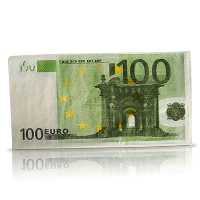 10 Serviettes en papier billet de 100 euros - 10 Napkins - 33x33 cm