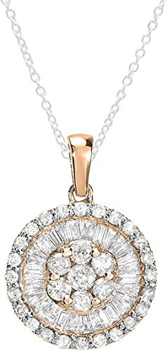 Genuine Mixed Gems /& Diamond Flower Pendant Necklace 14K Yellow White Rose Gold