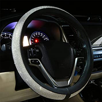 Universal Fit 15 Inch Anti-Slip Wheel Protector for Women Girls Valleycomfy Colorful Diamond Leather Steering Wheel Cover with Bling Bling Crystal Rhinestones