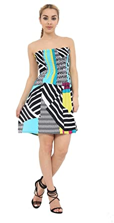 0678ff80e1 Top Fashion Ladies Strapless Sheering Boob Tube Shirring Floral Bandeau  Summer Mini Dress Top UK Size