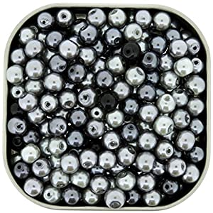 Beads Direct USA's Small Round Glass Pearls Mix 6mm 200pcs - Silver-Grey Mix