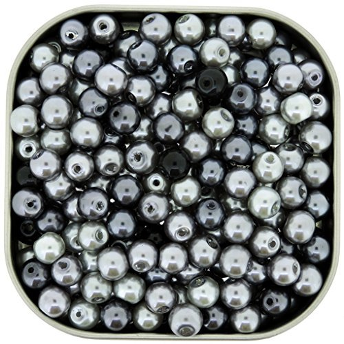 Approximately 6mm Round Beads (Beads Direct USA's Small Round Glass Pearls Mix 6mm 200pcs - Silver-Grey Mix)