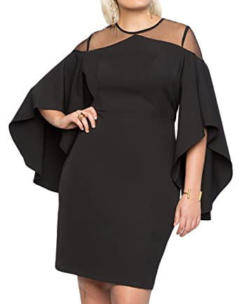 a8a7753d9dc BarbedRose Women Plus Size Mesh Cold Shoulder Bell Sleeve Bodycon Party  Dress