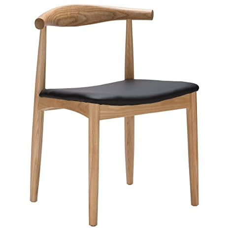 Hans Wegner Style Elbow Dining Chair, Black Faux Leather/Ash Wood Frame In  Natural