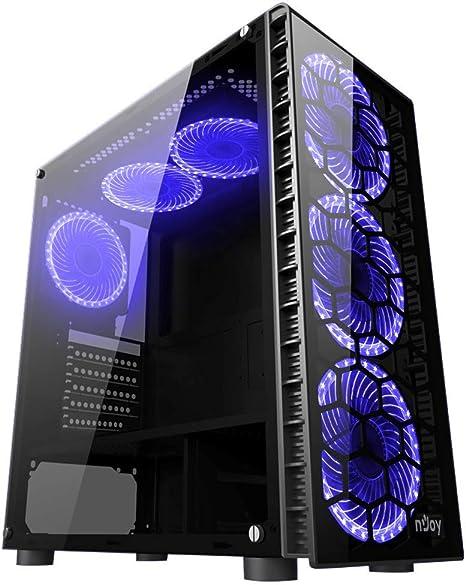 Njoy Vanguard Blue Caja de PC con Cristal y LED, Gabinete Gamer ATX, x6 Ventiladores incluidos, x2 USB 3.0: Amazon.es: Informática