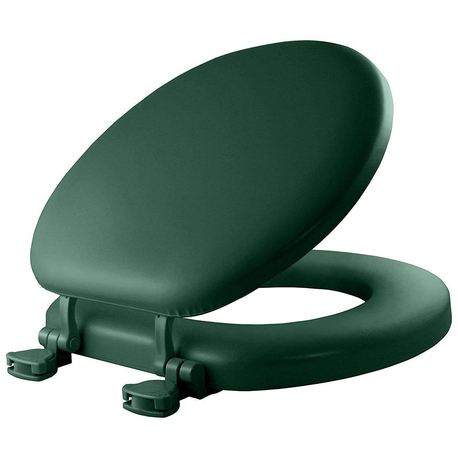 Moon Daughter Closed Front Dark Green Soft Padded Toilet Seat Cushioned Standard Round Cover Seat