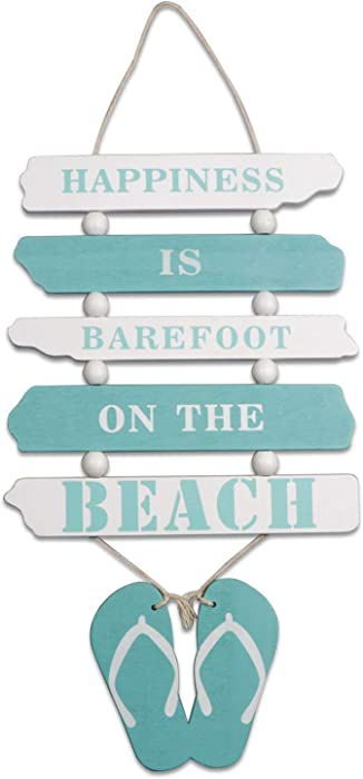 """Wooden Wall Decorative Sign Wood Plaque Sign Wooden Beach Plaque Door Wall Plaque Decor Hanging Wall Sign Hanging Wood Wall Decoration-Happiness is Barefoot ON The Beach 17"""" x 8"""" (Light Blue)"""
