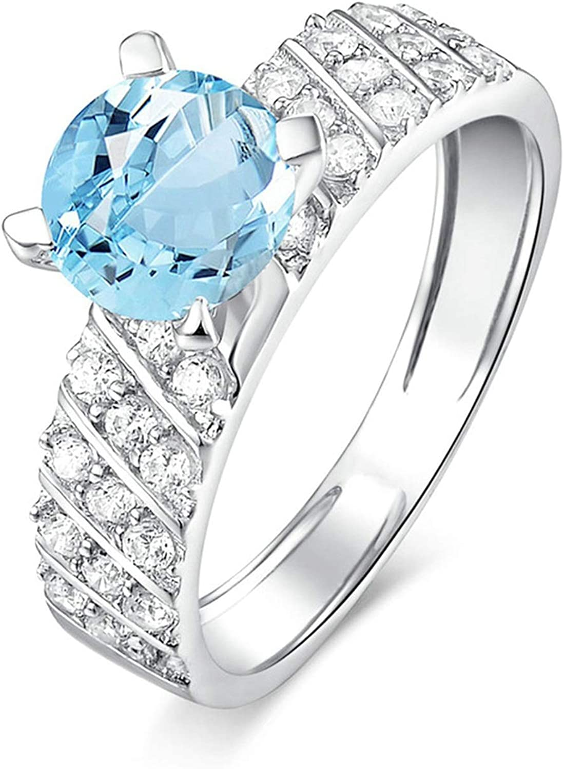 AMDXD Jewelry 925 Sterling Silver Wedding Rings for Women Blue Round Cut Topaz 4 Claw Round Ring