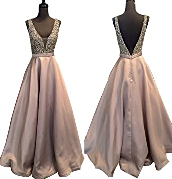 YuNuo Gorgeous V Neck Beaded Crystal Long Prom Dresses 2018 Evening Dress Long Formal Party Gowns at Amazon Womens Clothing store: