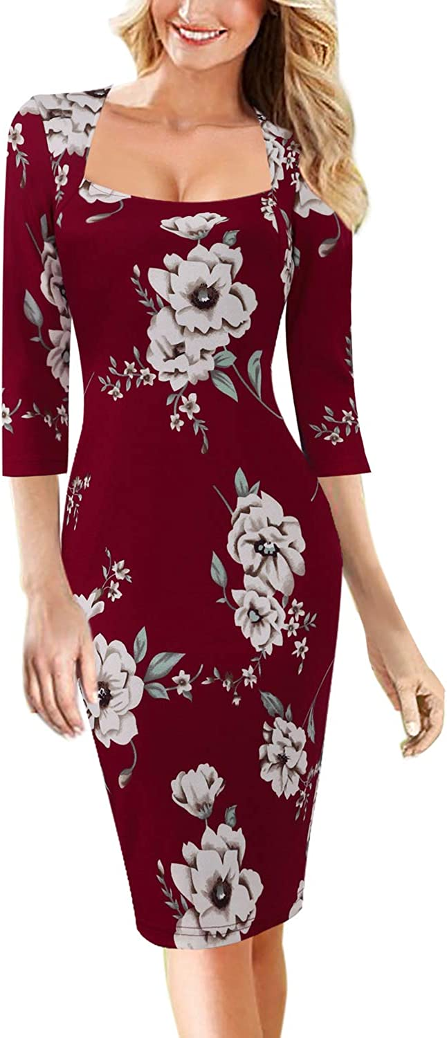 VFSHOW Womens Square Neck Work Business Cocktail Party Bodycon Sheath Dress