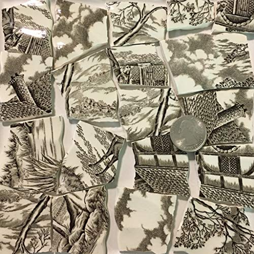 Mosaic Art & Crafts Supply ~ Brown & White Vintage Transferware Rim Tiles (B922)