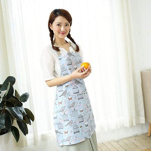 LYDCX Delantal De Lino De Algodón Japonés Cocina Hogar Impresión Lindo Delantal A Prueba De Aceite Simple Azul 74X59 Cm: Amazon.es: Hogar