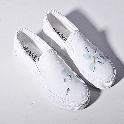 YSFU Zapatillas Zapatillas De Deporte De Mujer Zapatos Blancos Casuales Pintados A Mano Zapatos Deportivos De
